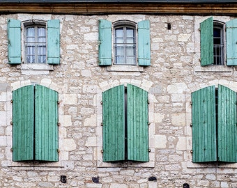 Living Room Art or Entryway Decor, Sage Green Wall Art for Country Home Decor, Fine Art Photography Print of French Windows & Shutters