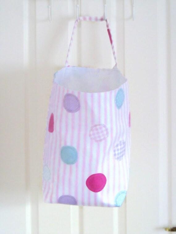 big laundry basket, yarn bag, hanging fabric basket, bedroom tidy, toy storage, hanging washing bag, toy caddy, pink striped cotton