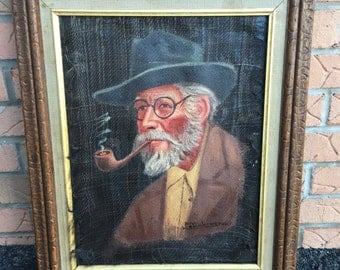 SOLD --- Framed Signed Portrait Painting Man with Smoking Pipe