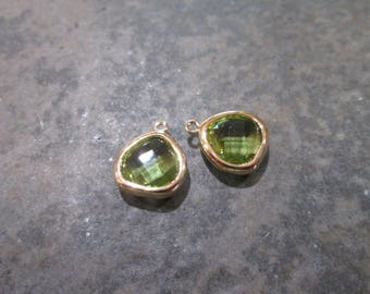 Peridot green bezel set faceted glass charms Package of 2 gold finish charms August Birthstone