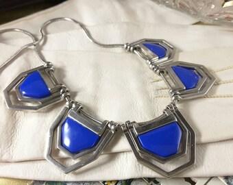 Cobalt Blue and Silver Tone Bib Necklace Vintage Next