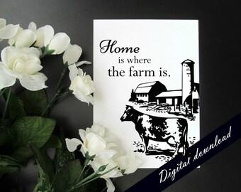 "Home is Where the Farm Is 5x7"" Digital Printable - Cows Farm Barn Country Printable"