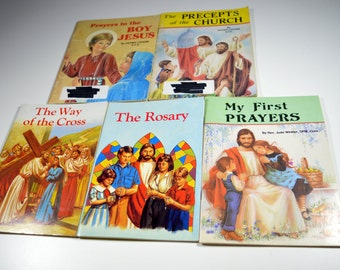 Vintage Children's Religious Books Lot of 5 1980s 19990s The Rosary The Way of The Cross Precepts of Church My First Prayers Prayers Jesus