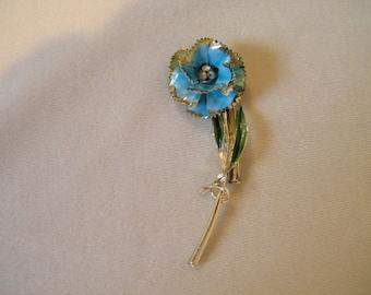 Vintage Blue Enamel Rhinestone Flower Pin