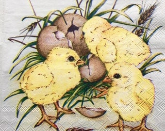 Rare single(one)Molca  napkin Baby chicks & Eggs  for collectie,decoupage ,decoupage under glass,scrapbooking and other art and crafts