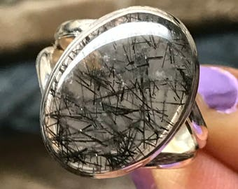 Natural Black Rutile 925 Solid Sterling Silver Victorian Solitaire Ring sz 8.75