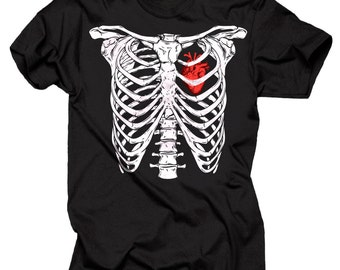Halloween T-Shirt Rib Cage Heart Realistic Scary Halloween T-shirt