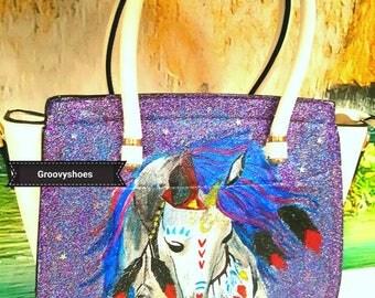 Unicorn fantasy glitter handbag tote bag