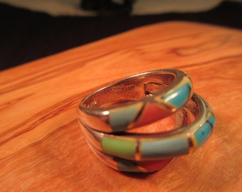 Colorful Vintage Sterling Silver Multi Gemstone Ring - 6