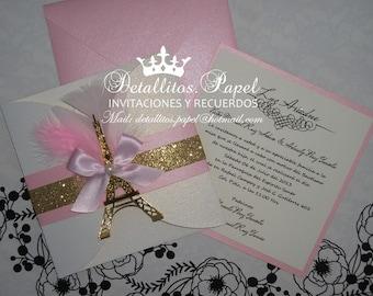 Paris Invitation, Quinceanera Invitation, Invitation Eiffel Gold Pink Invitation, Wedding Invitation, Gatefold Invitations 100