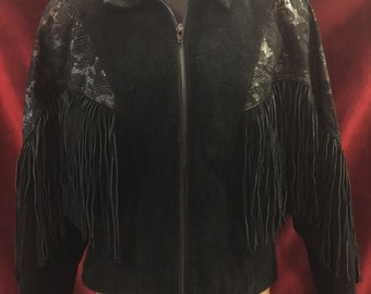 Women's Vintage Black Suede Fringe Zip Jacket