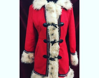 Gorgeous Vintage 1970's Red Coat With Faux Fur Detail