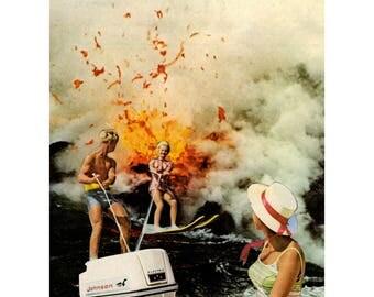 Surrealist Collage, Original Art, Art Print, Danger Zone