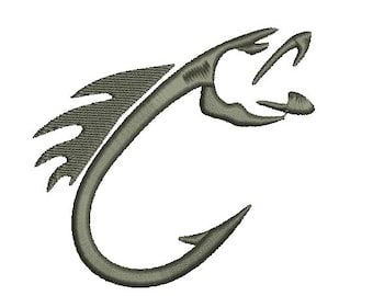 Fish and Hook Embroidery Design in 3 Sizes - INSTANT DOWNLOAD