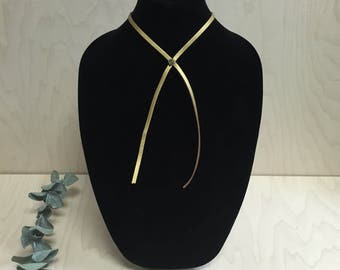 Leather Lariat Necklace w/Stone