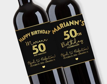 Birthday Wine Bottle Labels, Customized   Fifty And Fabulous, Happy  Birthday Label   Elegant  Free Wine Bottle Label Templates