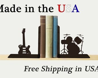 Rock Band Bookends, Music Decor, Guitar Art, Metal Art, Book Shelf, Man Cave Decor, Library, Home Decor, Free USA Shipping, BE1011