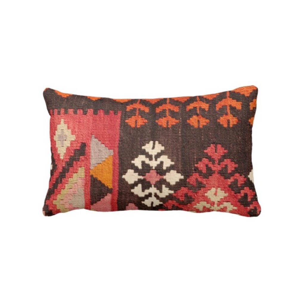 Turkish Rug Print Throw Pillow, Boho/Ethnic Geometric Carpet ...