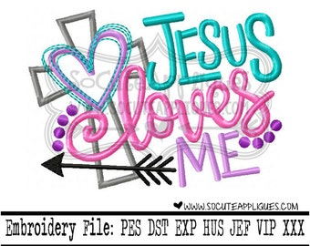 Easter Embroidery design 4x4 5x7 6x10 Jesus loves Me, Christian Embroidery sayings, socuteappliques, Cross embroidery, Jesus loves me