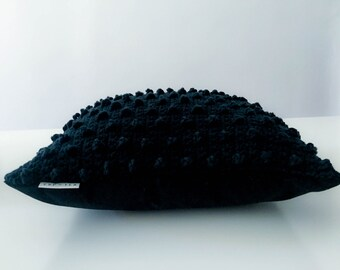 Crochet Dotted Cushion Cover . Dramatic Black