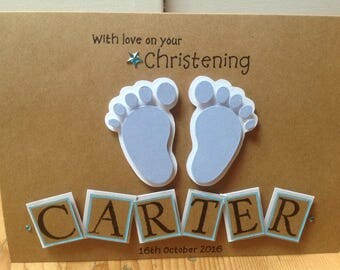 "Handmade personalised card -"" with love on your christening"""
