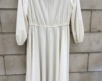 Vintage 70s 80s Boho Retro Ivory Gold Wedding Dress Med Large