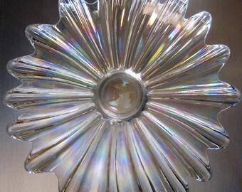 Vintage Sunburst Iridescent Carnival Glass Bowl, Rainbow Dish, Fruit Bowl,