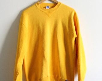 80's 90's Vintage Russell Athletics plain blank crewneck sweatshirt | Large | Made in USA