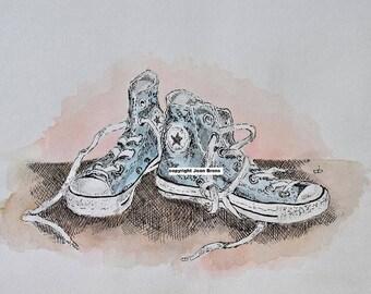 pen drawing sneakers