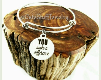 You Make A Difference Bracelet, You Make A Difference Bangle, Handmade Inspirational Jewelry, Be You Jewelry, Be You Bracelet, Be Yourself