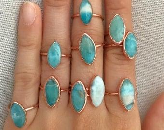 Larimar Copper Ring // Larimar Rose Gold Ring // Larimar