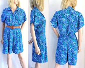 Womans blue floral romper playsuit size medium