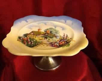 Vintage Ceramic cake plate on metal pedestal