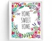 Multi Sizes Printable, Home Sweet Home Printable, Wall Art, Hallway, Entrance way, home decor