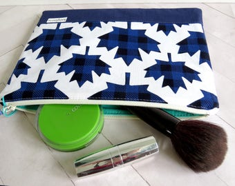 Vinyl Lined Make-Up Flat in Plaid Canadian Maple Leafs Navy Blue -  Zipper Pouch for Cosmetics