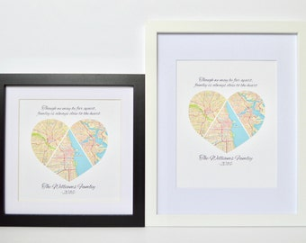 Father's Day Gift, Gift for Dad, Family Map for Fathers Day, Framed Family Map Art, Map Print for Long Distance Family