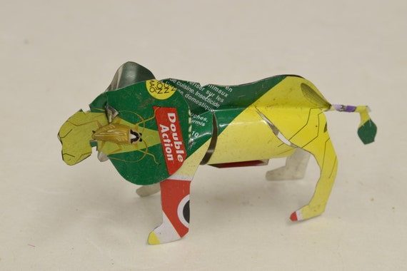 Toy Lion African Recycled Yellow Red Green Tin Can Lion Tanzania Handmade Vintage Toy Lion Animals Recycled Tin Unique One of a Kind