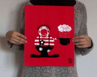 Foil the clown of the circus the collection, exclusive brand Marta Comas Illustration.