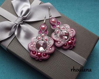 Rivoli Shades of Rose Soutache Earrings