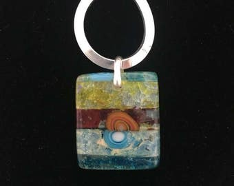 Fused Glass Pendant | Blue and Red Fused Glass Pendant 800