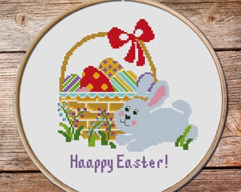 Easter Cross Stitch Pattern, Easter Chicken Egg, Easter Bunny Cross Stitch Pattern, modern cross stitch easy cross stitch, easter embroidery