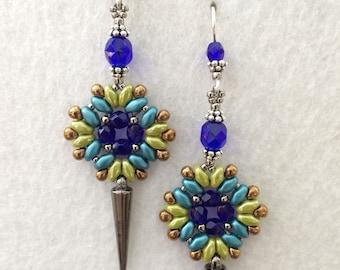 Czech Crystal Earrings with Spikes