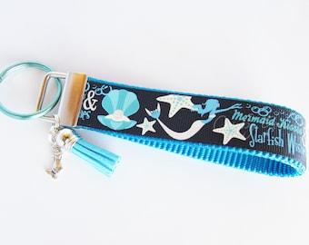 Mermaid Key Fob - Mermaid Kisses Key Fob - Mermaid Kisses Starfish Wishes Keychain - Clam Shell Key Fob - Ocean theme Key Fob - Nautical