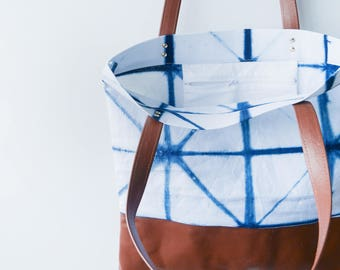 Shibori and Leather Tote Bag // Dusk Indigo Bag