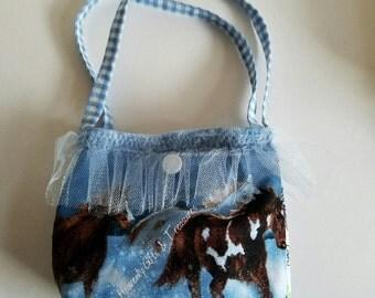Horse Mini Purse Blue