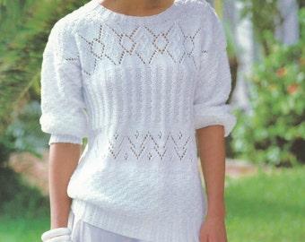 PDF - Women Sweater Knitting Pattern - Ladies Sweater Knitting Pattern -  Bust 32-38 - Instant Download