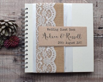 Hessian/Burlap Rustic Wedding Scrapbook, Guest Book or Wedding Planner - Handmade and Personalized with Cotton Bag - Choose No. of Pages