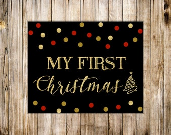 Red Gold MY FIRST CHRISTMAS Sign, Chalkboard 1st Christmas Poster, Winter Xmas Tree Baby Girl Milestone Photo Prop, Digital Instant Download