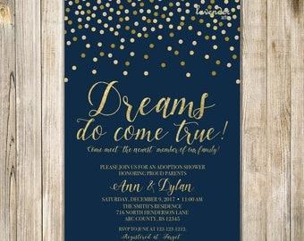 NAVY GOLD ADOPTION Shower Invitation, Dreams Do Come True, Baby Boy Adoption Celebration Invite, Navy Blue Parenthood Miracle Worth the Wait
