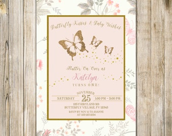 BUTTERFLY BIRTHDAY Invitation, Blush PINK Gold Butterflies Invite, Floral Girls 1st Birthday Party, Magical Enchanted Garden Whimsical LA21